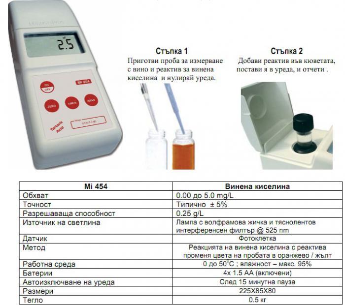 Фотомери за определяне на винена киселина 28-3355